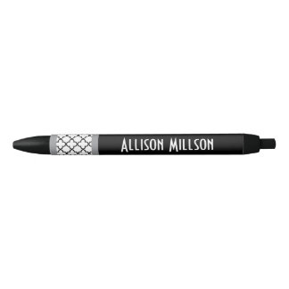 Black Elegant Quatrefoil Custom Name A02. Black Ink Pen