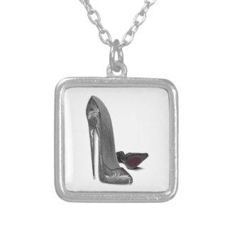 Black Elegant Stiletto Shoe Art Square Pendant Necklace