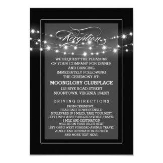 Black elegant string lights reception cards
