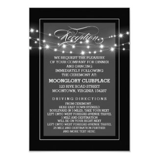 Black elegant string lights reception cards 9 cm x 13 cm invitation card