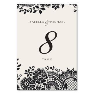 Black elegant vintage lace wedding table card