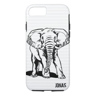 Black Elephant Line Drawing iPhone 8/7 Case