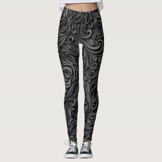 Black Embroidery Leggings
