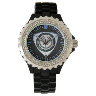 Black Enamel, Rhinestone, Rotary Engine Watch