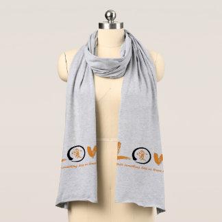 Black enso zen circle, orange symbol for love scarf
