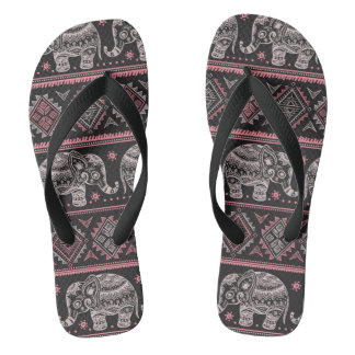 Black Ethnic Elephant Pattern Thongs