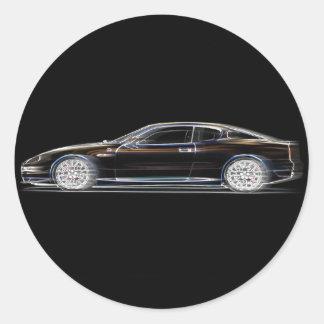 Black Exotic Luxury Sports Car of a Gentleman Classic Round Sticker