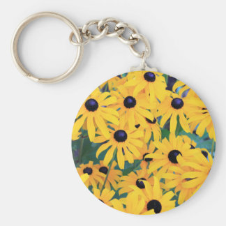 Black Eyed Susan Flowers in Deep Yellow Key Ring
