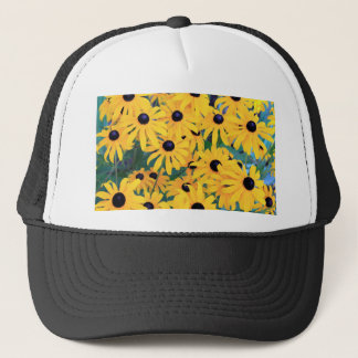 Black Eyed Susan Flowers in Deep Yellow Trucker Hat