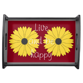 Black Eyed Susan on Berry Red Serving Tray