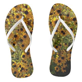 Black Eyed Susan Yellow Flowers Green FlipFlops Thongs