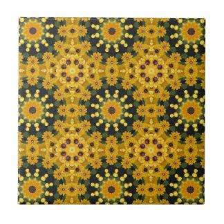 Black-eyed Susans 02.2, Floral mandala-style Ceramic Tile