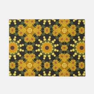 Black-eyed Susans 02.2, Floral mandala-style Doormat