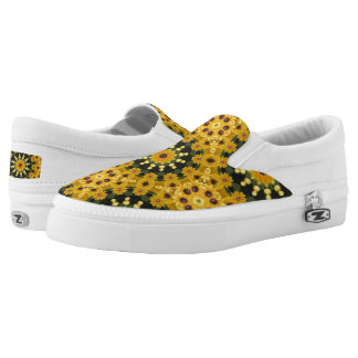 Black-eyed Susans 02.2, Floral mandala-style Slip On Shoes