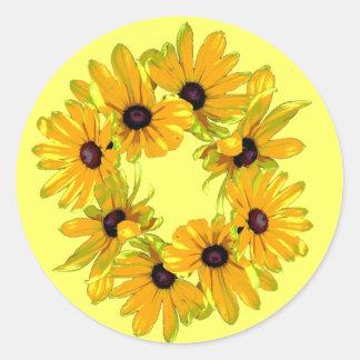 Black-eyed Susans Classic Round Sticker