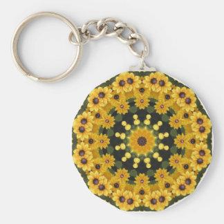 Black-eyed Susans,  Floral Mandala Key Ring