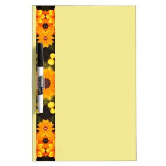 Black-eyed Susans, Floral mandala-style Dry Erase White Board