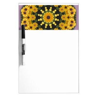 Black-eyed Susans, Floral mandala-style Dry Erase Whiteboards
