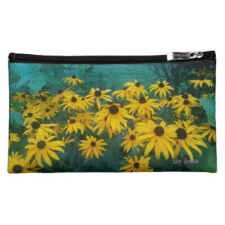 black eyed susans med cosmetic bag