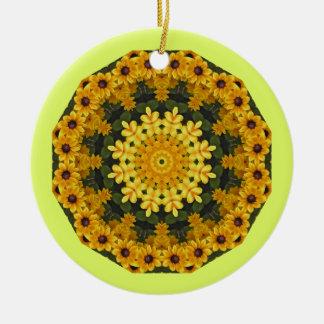 Black-eyed Susans Nature, Flower-Mandala Round Ceramic Decoration