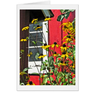 BLACK-EYED SUSANS/RED SHED/WINDOW/CUSTOMIZABLE CARD