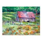 Black-Eyed Susans Wildflower Barn Watercolor Postcard