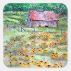 Black-Eyed Susans Wildflower Barn Watercolor Square Sticker