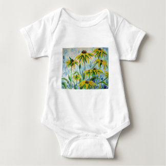 Black eyed suzans in Watercolor Baby Bodysuit