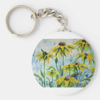 Black eyed suzans in Watercolor Key Ring