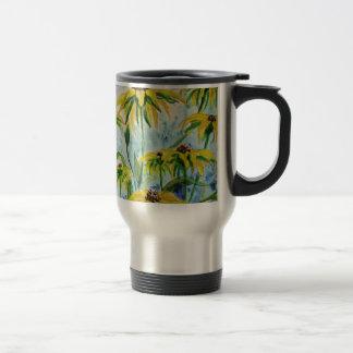 Black eyed suzans in Watercolor Travel Mug