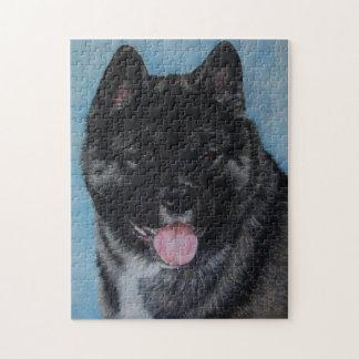 black faced akita panting dog portrait art jigsaw puzzle