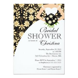 Black Fall Floral Beautiful Bride Bridal Shower 11 Cm X 16 Cm Invitation Card