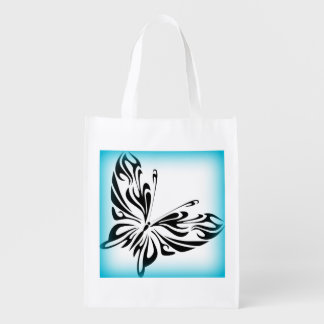 Black fancy Butterfly with Bright Blue Border Reusable Grocery Bag