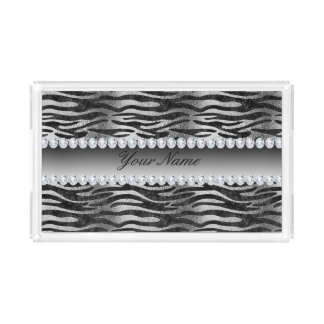 Black Faux Foil Zebra Stripes on Silver Acrylic Tray