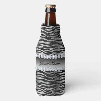 Black Faux Foil Zebra Stripes on Silver Bottle Cooler