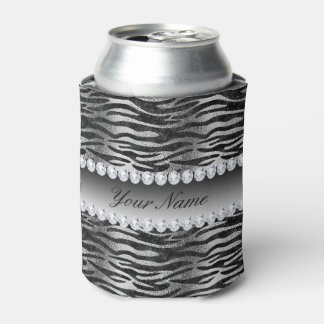 Black Faux Foil Zebra Stripes on Silver Can Cooler