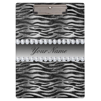 Black Faux Foil Zebra Stripes on Silver Clipboard
