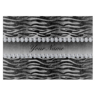 Black Faux Foil Zebra Stripes on Silver Cutting Board