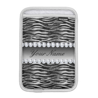 Black Faux Foil Zebra Stripes on Silver iPad Mini Sleeve