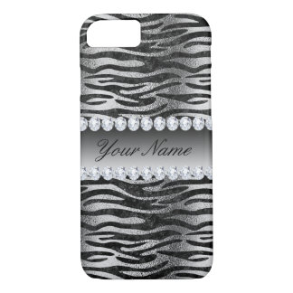 Black Faux Foil Zebra Stripes on Silver iPhone 8/7 Case