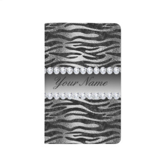 Black Faux Foil Zebra Stripes on Silver Journal