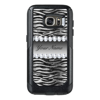 Black Faux Foil Zebra Stripes on Silver OtterBox Samsung Galaxy S7 Case