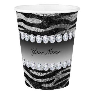 Black Faux Foil Zebra Stripes on Silver Paper Cup