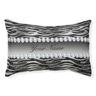 Black Faux Foil Zebra Stripes on Silver Pet Bed