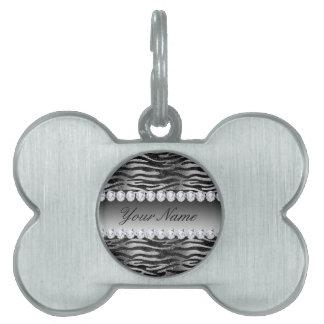 Black Faux Foil Zebra Stripes on Silver Pet ID Tag