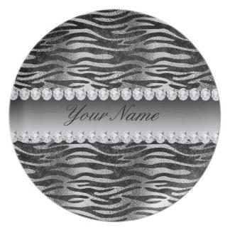 Black Faux Foil Zebra Stripes on Silver Plate