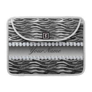 Black Faux Foil Zebra Stripes on Silver Sleeve For MacBooks