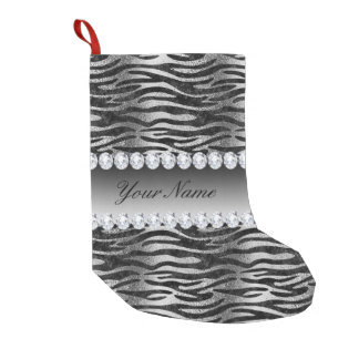 Black Faux Foil Zebra Stripes on Silver Small Christmas Stocking
