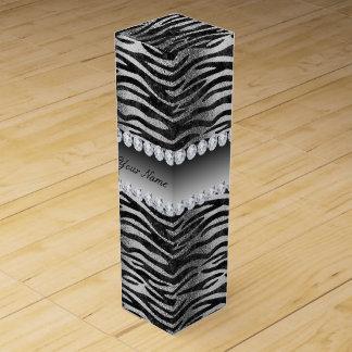 Black Faux Foil Zebra Stripes on Silver Wine Gift Box
