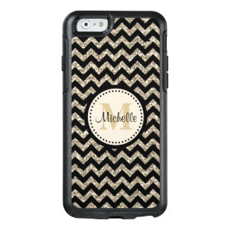Black Faux Glitter Chevron Gold Monogram OtterBox iPhone 6/6s Case